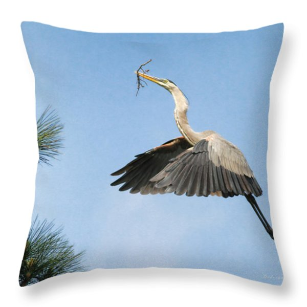 Up To The Nest Throw Pillow by Deborah Benoit