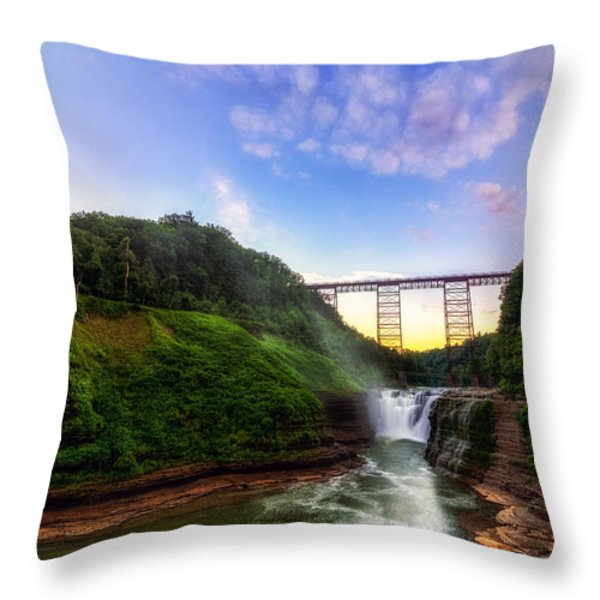Upper Falls At Letchworth Throw Pillow by Mark Papke