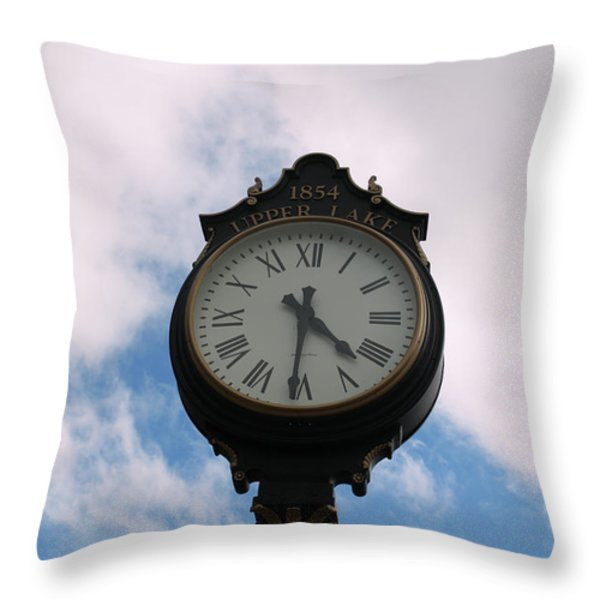 Upper Lake Clock Throw Pillow by Cheryl Young