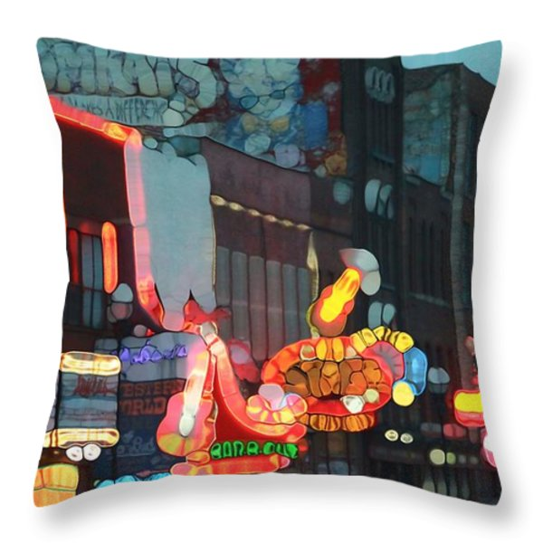 Urban Abstract Nashville Neon Throw Pillow by Dan Sproul