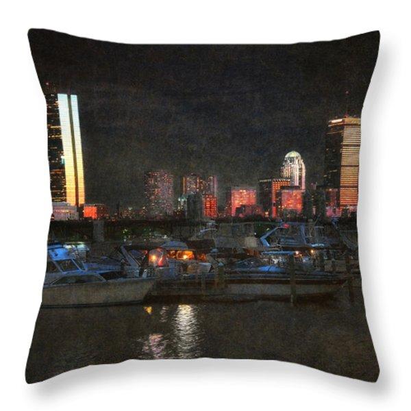 Urban Boston Skyline Throw Pillow by Joann Vitali