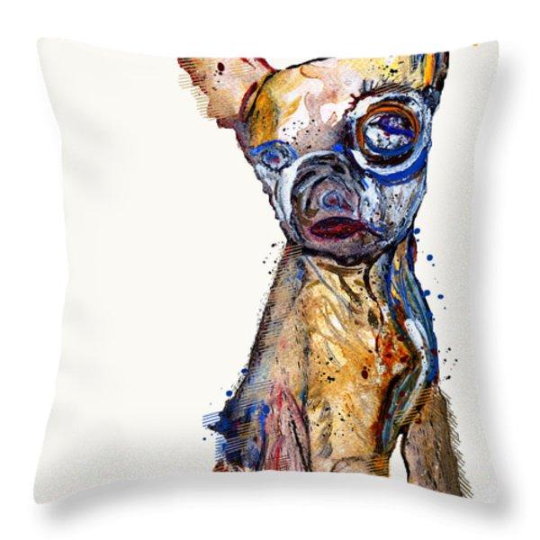 Urban Chihuahua Throw Pillow by Bri Buckley