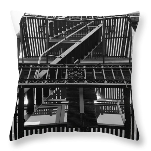 Urban Fabric - Fire Escape Stairs - 5D20592 - Black and White Throw Pillow by Wingsdomain Art and Photography