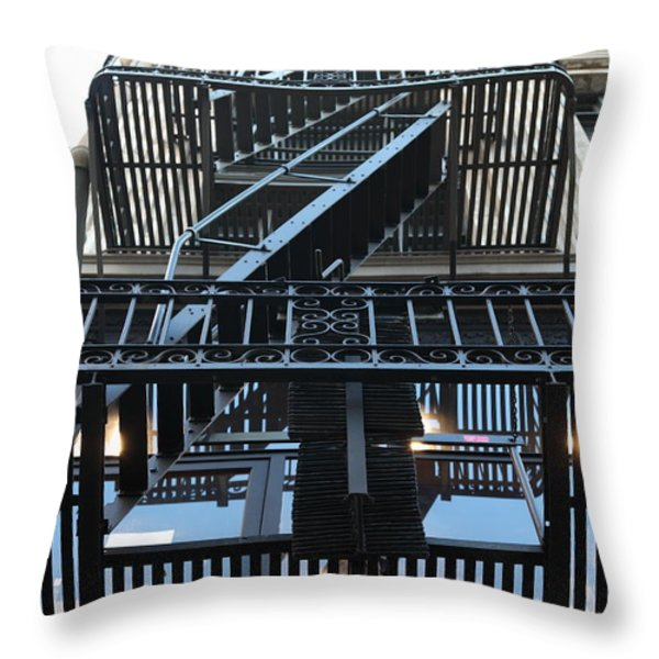 Urban Fabric - Fire Escape Stairs - 5D20592 Throw Pillow by Wingsdomain Art and Photography