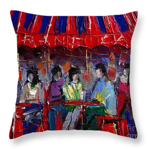 Urban Story - Grand Cafe Throw Pillow by Mona Edulesco