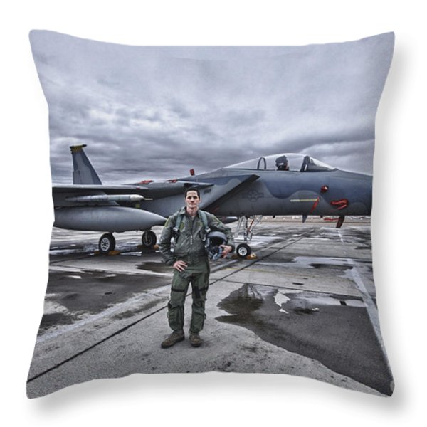 U.s. Air Force Pilot Standing In Front Throw Pillow by Terry Moore