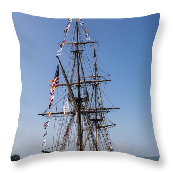 U.S. Brig Niagara Throw Pillow by Dale Kincaid