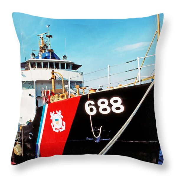 US Coast Guard Ship Throw Pillow by Thomas R Fletcher