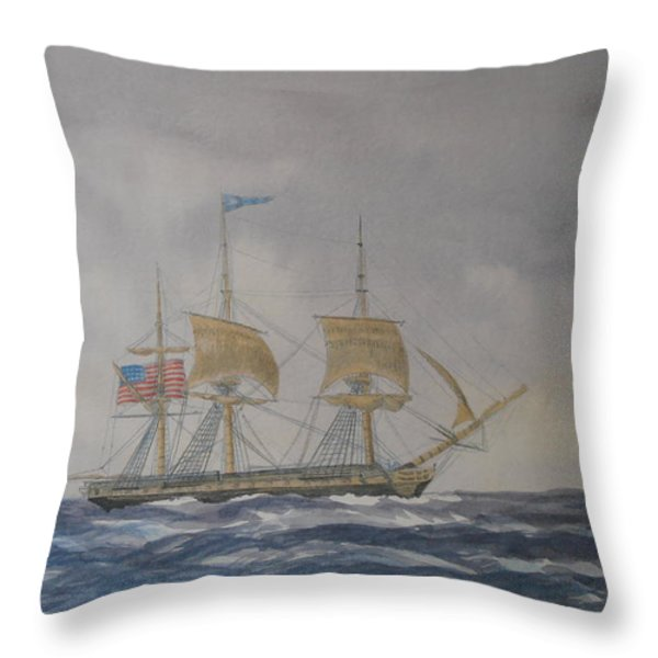 US Frigate Gives Chase In Stormy Weather Throw Pillow by Elaine Jones