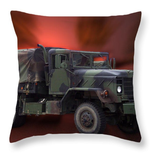 Us Military Truck Throw Pillow by Thomas Woolworth