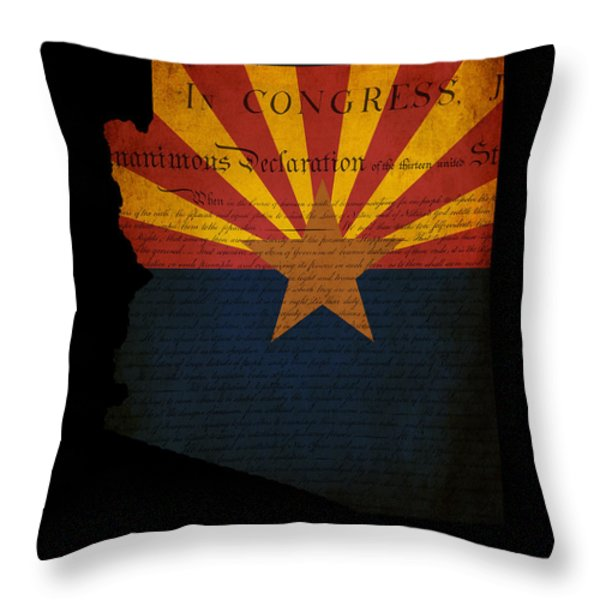 USA American Arizona State Map outline with grunge effect flag a Throw Pillow by Matthew Gibson