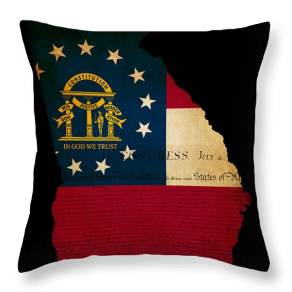 Usa American Georgia State Map Outline With Grunge Effect Flag A Throw Pillow by Matthew Gibson