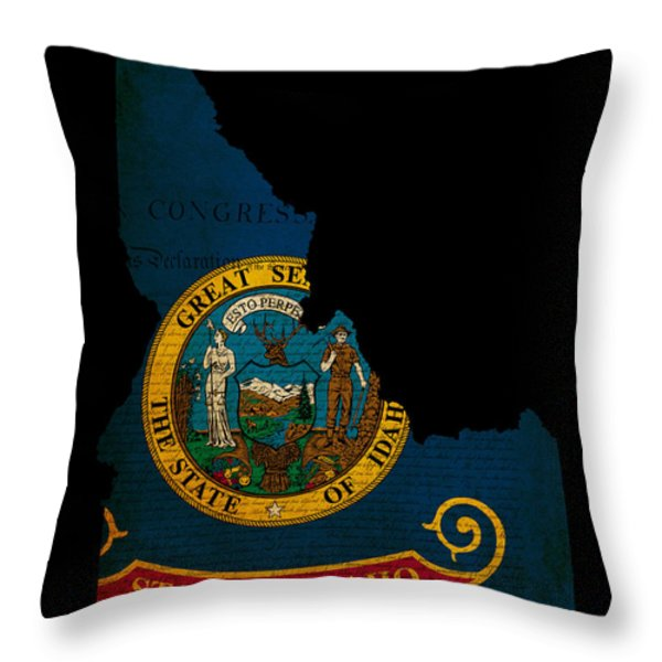 Usa American Idaho State Map Outline With Grunge Effect Flag And Throw Pillow by Matthew Gibson