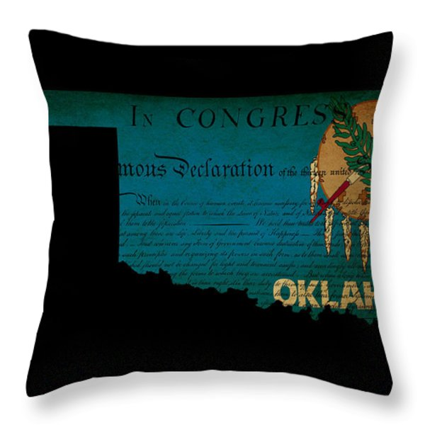 USA American Oklahoma State Map outline with grunge effect flag  Throw Pillow by Matthew Gibson