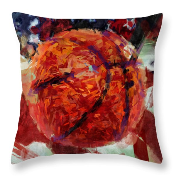 USA Flag and Basketball Abstract Throw Pillow by David G Paul