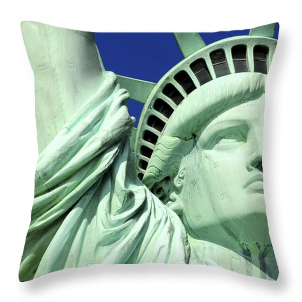 Usa, New York City, Statue Of Liberty � Throw Pillow by Tips Images
