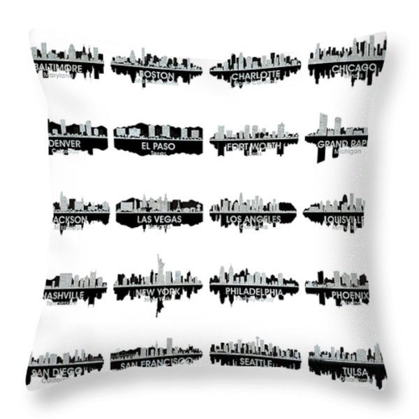 Usa Skylines 4 Throw Pillow by Angelina Vick