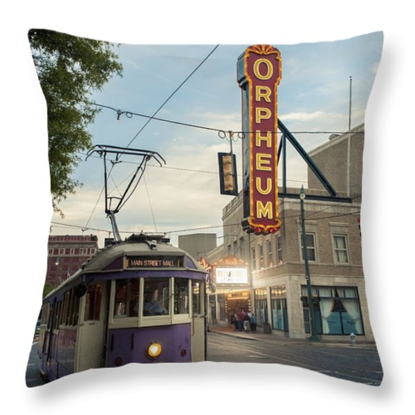 Usa, Tennessee, Vintage Streetcar Throw Pillow by Dosfotos