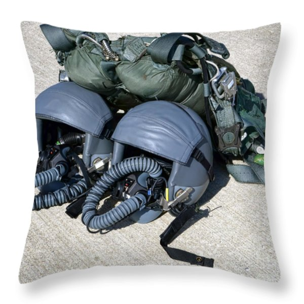 USAF Gear Throw Pillow by Olivier Le Queinec