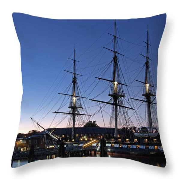 USS Constitution and Bunker Hill Monument Throw Pillow by Juergen Roth
