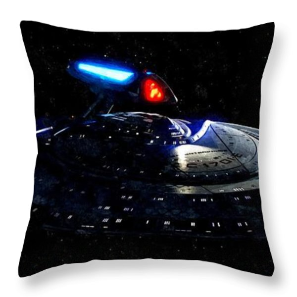 USS Enterprise Throw Pillow by Florian Rodarte