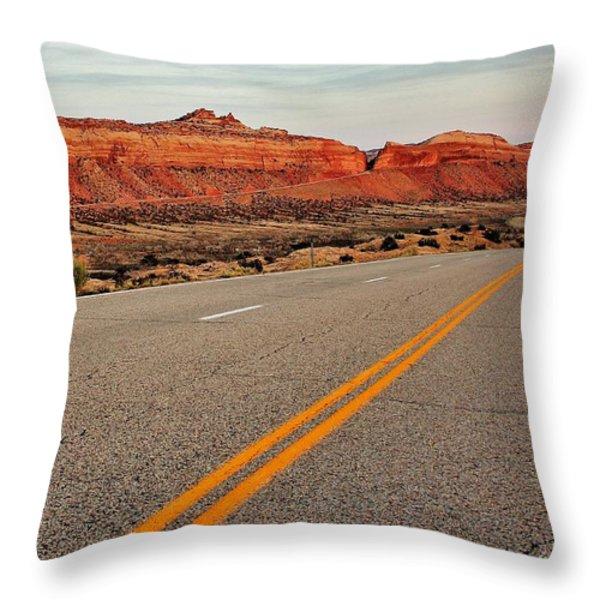 Utah Highway Throw Pillow by Benjamin Yeager