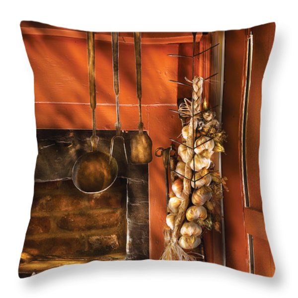 Utensils - Garlic and Spoons Throw Pillow by Mike Savad