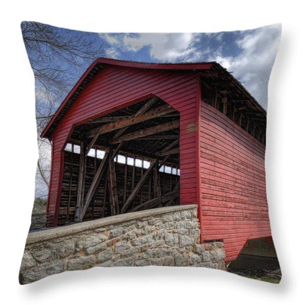 Utica Mills Covered Bridge Throw Pillow by Joan Carroll