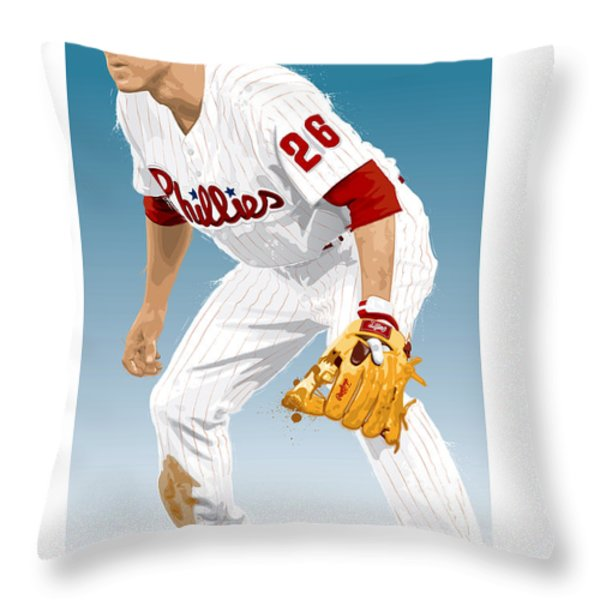 Utley In The Ready Throw Pillow by Scott Weigner
