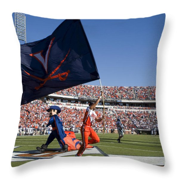 UVA Virginia Cavaliers Football Touchdown Celebration Throw Pillow by Jason O Watson