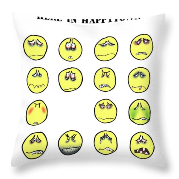 Vacancy In Happytown Throw Pillow by Mark Armstrong