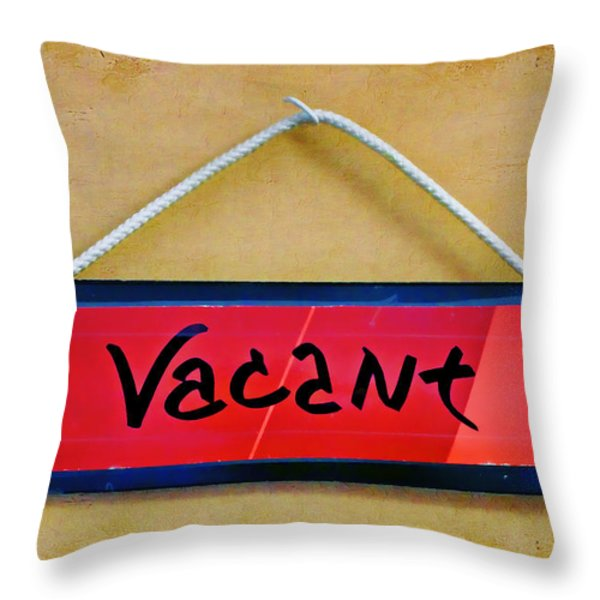 Vacant Throw Pillow by Nikolyn McDonald
