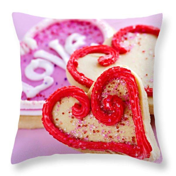 Valentines hearts Throw Pillow by Elena Elisseeva