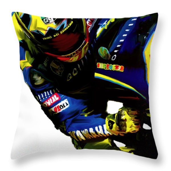 Valentino Rossi  Corner Speed Throw Pillow by Iconic Images Art Gallery David Pucciarelli