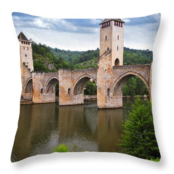 Valentre bridge in Cahors France Throw Pillow by Elena Elisseeva