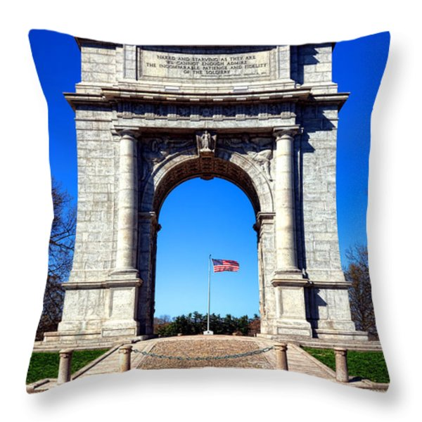 Valley Forge Landmark Throw Pillow by Olivier Le Queinec