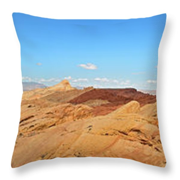 Valley Of Fire Pano Throw Pillow by Jane Rix
