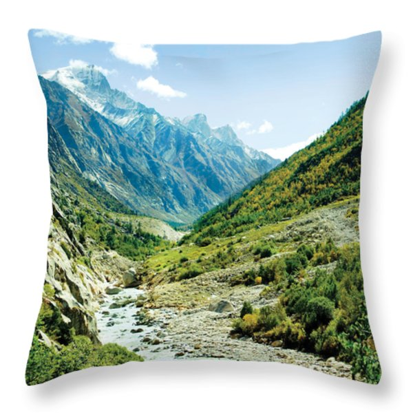Valley of river Ganga in Himalyas mountain Throw Pillow by Raimond Klavins