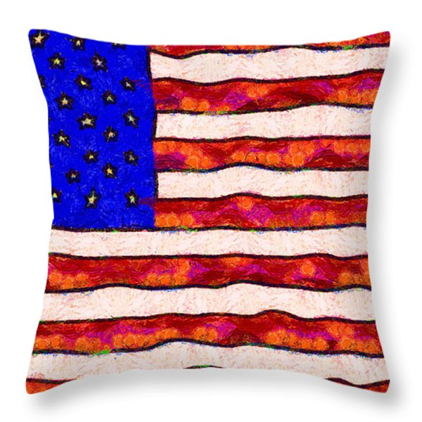 Van Gogh.s Starry American Flag Throw Pillow by Wingsdomain Art and Photography