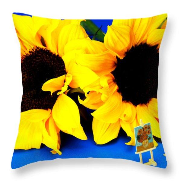 Van Gogh's Sunflower miniature art Throw Pillow by Paul Ge