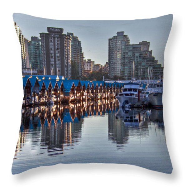 Vancouver Boat Reflections Throw Pillow by Eti Reid