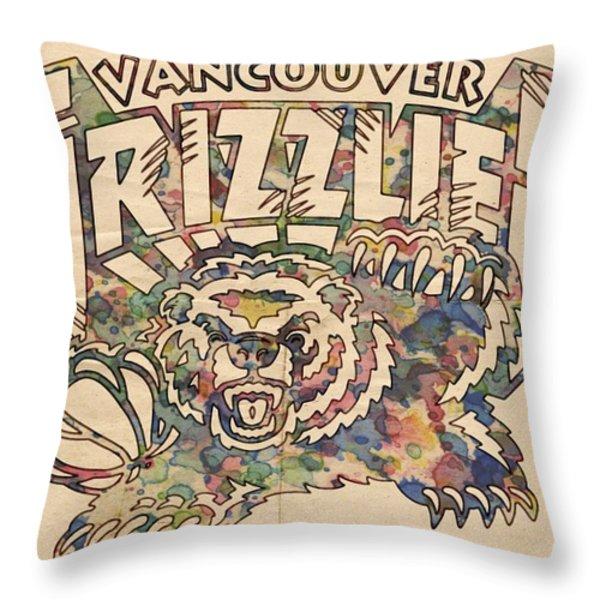 Vancouver Grizzlies Retro Poster Throw Pillow by Florian Rodarte