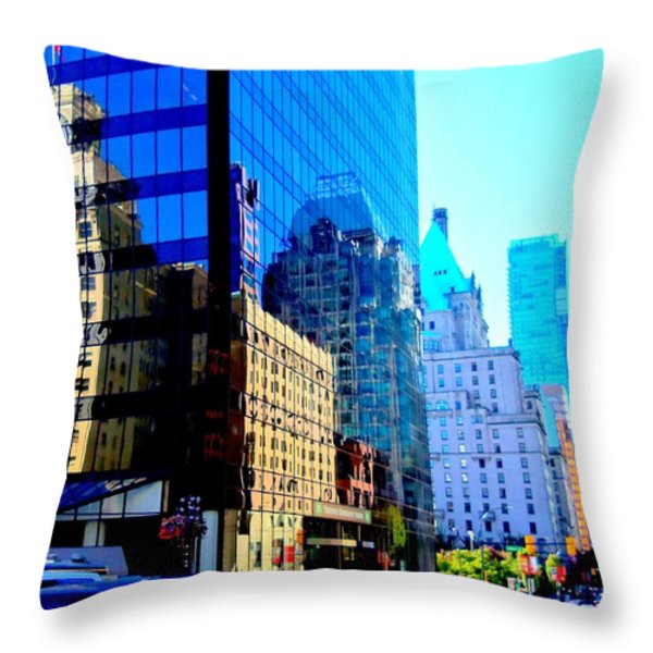 Vancouver Reflections 5 Throw Pillow by Randall Weidner