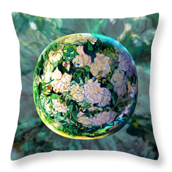 Vangloghing Roses Throw Pillow by Robin Moline