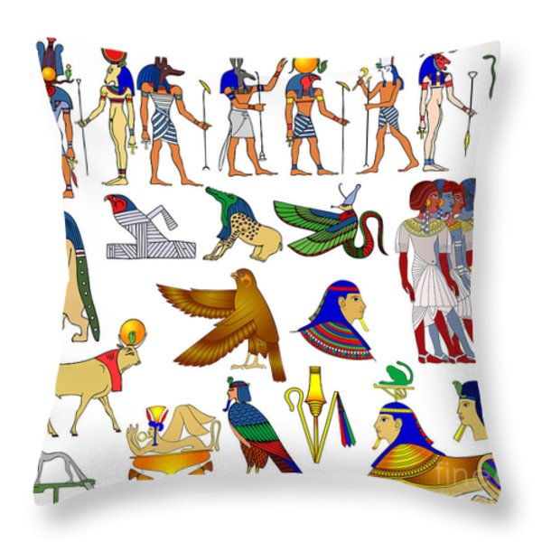 Various themes of ancient Egypt Throw Pillow by Michal Boubin