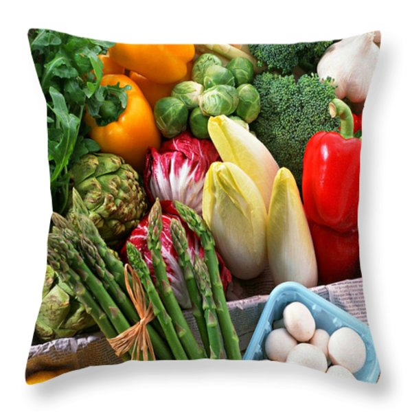 Various Vegetables Throw Pillow by Lanjee Chee