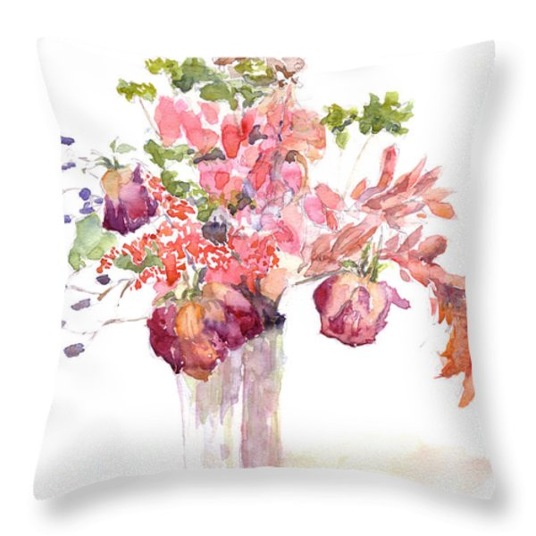 Vase of Dried Flowers Throw Pillow by Claudia Hafner