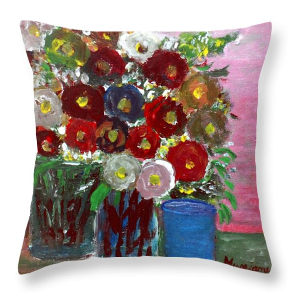 Vases Of Spring Throw Pillow by Mauro Beniamino Muggianu