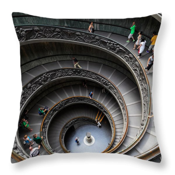 Vatican Spiral Staircase Throw Pillow by Inge Johnsson