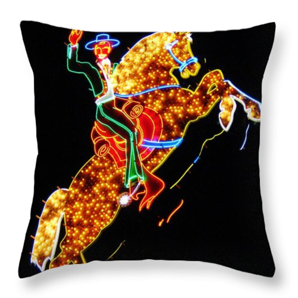 Vegas Cowboy Sign Throw Pillow by John Malone